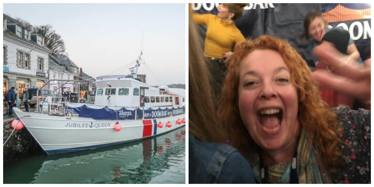 The Jubliee Queen party boat at Padstow Christmas Festival with a party goer dancing