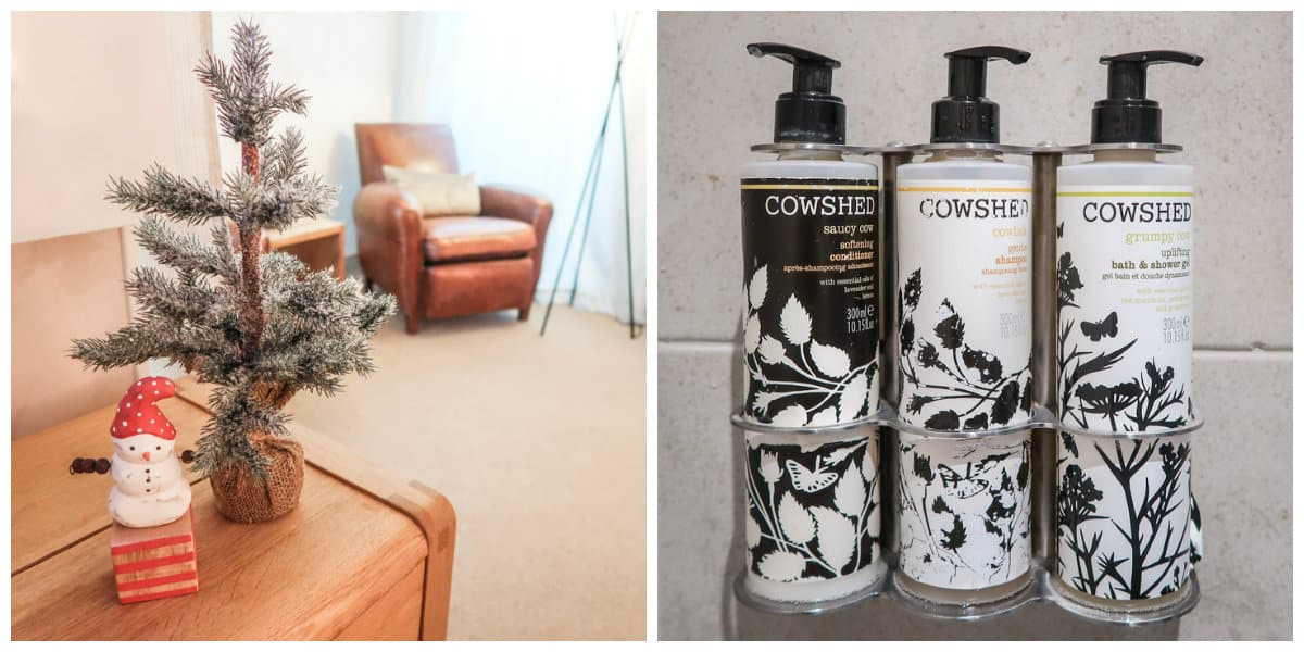 hotel room shots of beautiful brown leather chairs and gorgeous products from the Cowshed spa