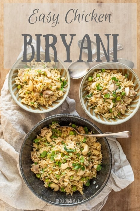 wooden board with 3 bowls filled with my easy chicken biryani recipe