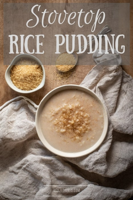 rustic white bowl filled with easy stovetop rice pudding and sprinkled with brown sugar and cinnamon