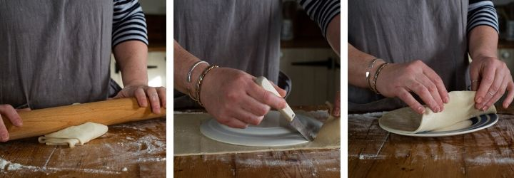 3 images showing a woman preparing the pastry to make a traditional Cornish pasty