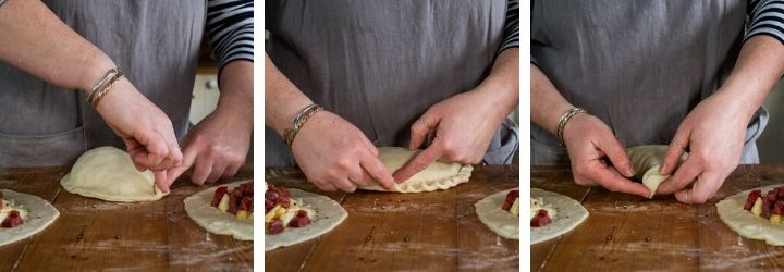 3 images showing a woman crimping the pastry to make a traditional Cornish pasty