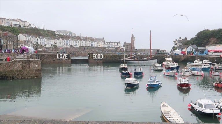 harbour shot of Porthleven, Cornwall at the Porthleven Food Festival 2019