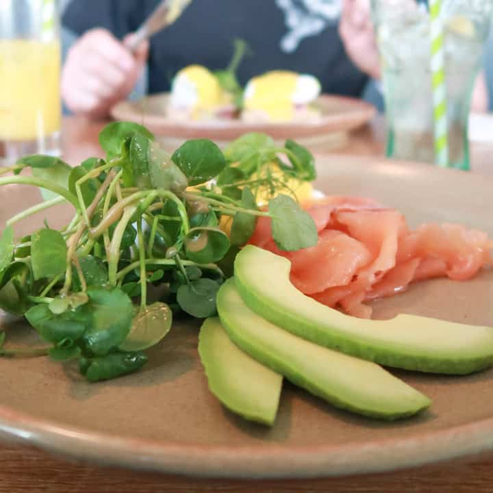 Brunch plate with avocado, watercress and smoked salmon at the Porthleven Food Festival 2019