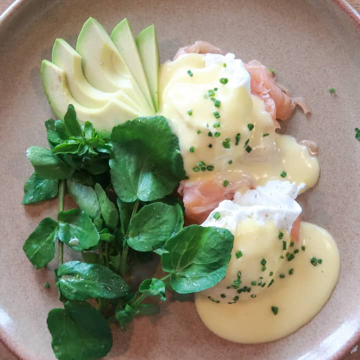 Brunch plate of Eggs Royale, watercress and avocado at the Porthleven Food Festival 2019