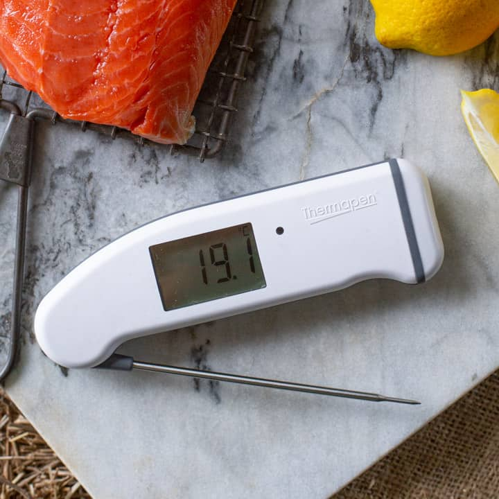 Thermapen Professional thermometer on marble chopping board with salmon