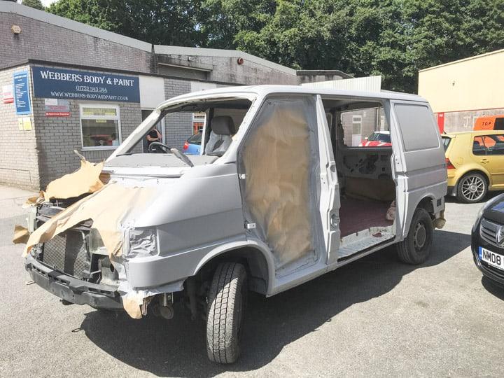 VW campervan during restoration of bodywork
