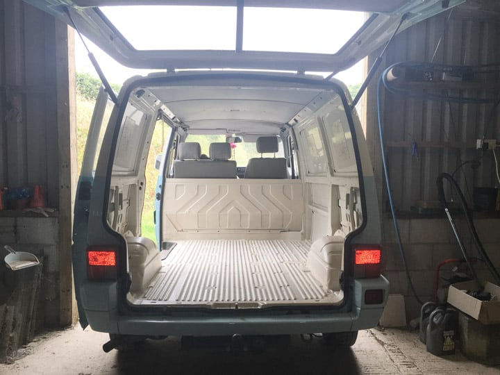 interior of VW T4 ready to be converted as a campervan