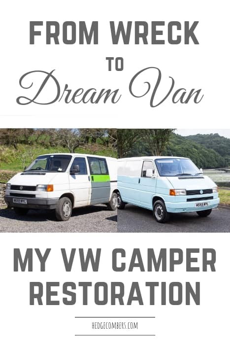 2 images of an old VW campervan before and after a full restoration and respray