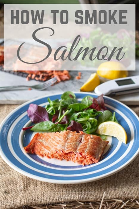 Hot smoked salmon served on a blue and white plate with title 'how to smoke salmon'