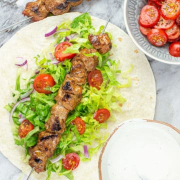 Welsh Lamb Kebabs with Harissa and Mint Yogurt Sauce