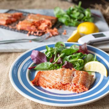 blue and white plate with a piece of hot smoke salmon, salad leaves and lemon wedge