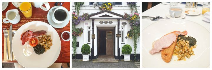 3 images of food in Wales - 2 Welsh breakfasts and a pretty hotel entrance