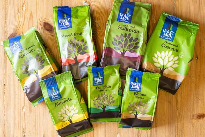 Bags of baking ingredients from the Crazy Jack Organic ASDA baking range