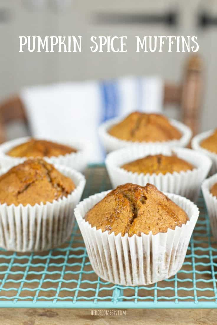 Muffins on a cooling tray with words Pumpkin Spice Muffins