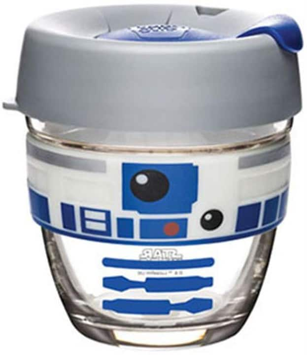 cute R2-D2 glass coffee mug against a white background