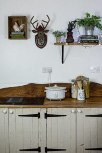 Slow cooker on a kitchen worksurface with stags head and shelving above it