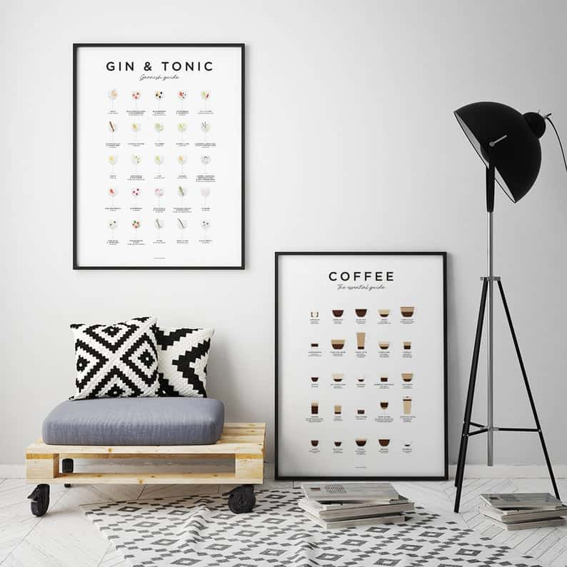image of modern lounge area with standrad lamp, armchair, rug and coffee print
