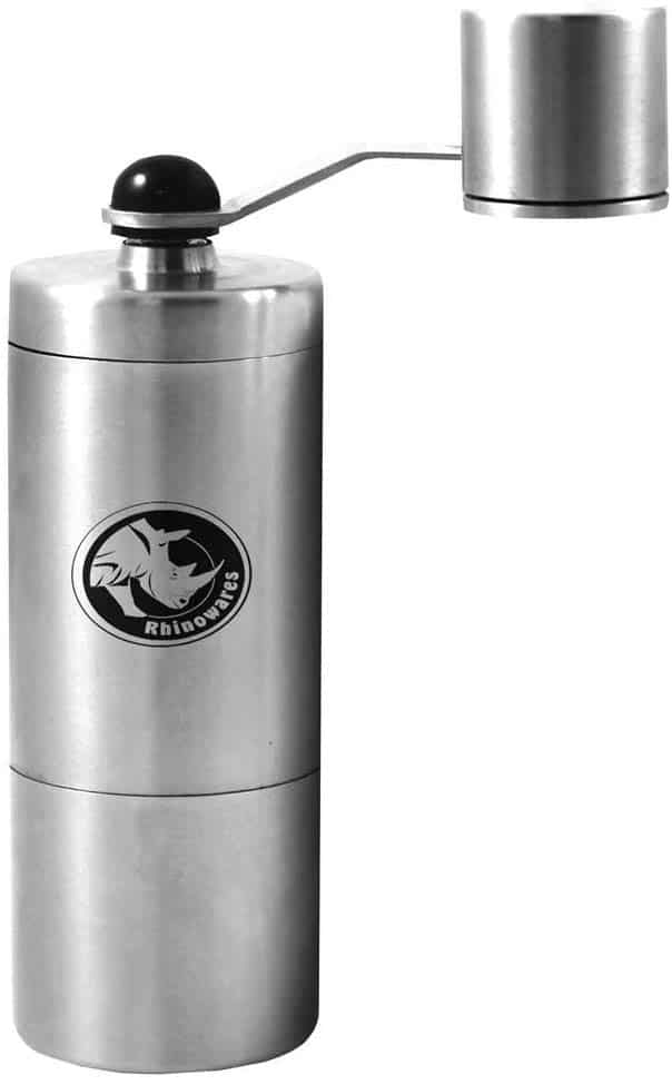 rhinowares small coffee bean hand grinder against a white background