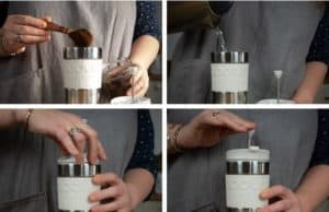 Step by step photographs of how to use a Bodum Travel Press coffee maker - pour in coffee, pour in water, screw on lid, push down plunger