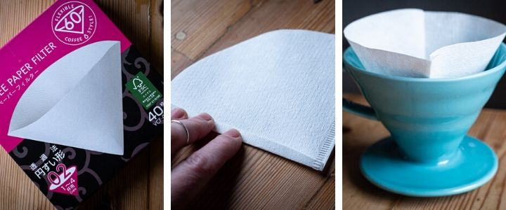 3 images showing how to fold a paper coffee filter for the Hario V60