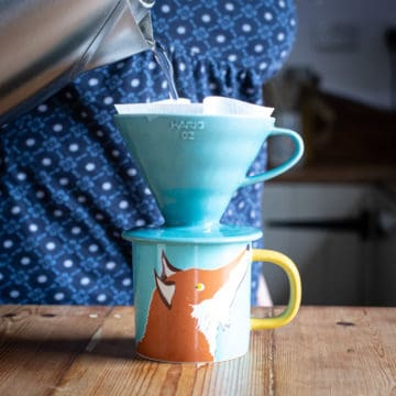 woman pouring water from a kettle into turquoise coffee maker over a fox cup